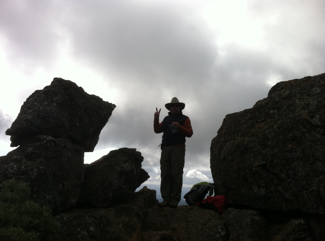 A fellow hiker atop Gunsight Rock