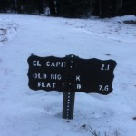 A trail sign surrounded by snow on El Capitan. (Matt Brown/ The Press Democrat